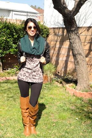 teal gift scarf - tawny diva lounge boots - black Forever21 jacket