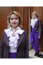wool thrifted blazer - white Zara blouse - white ruffle Diane Von Furstenberg bl