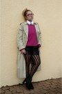 Eggshell-thrifted-vintage-coat-hot-pink-mexx-sweater-black-thrifted-shorts