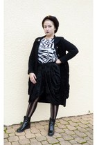 black falke tights - black wool roberto cavalli coat - black vintage hat