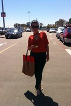 orange Forever 21 blouse - tan H&M bag - gray H&M pants - gold Aldo flats