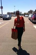 orange Forever 21 blouse - tan H&M bag - gray H&M pants - gold Aldo flats