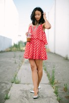 red polka dots Forever 21 dress - silver Target heels