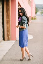 blue Old Navy dress - The Limited jacket - quay sunglasses - Candies heels