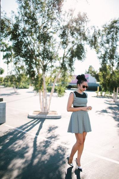 black dress - silver heels