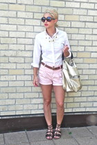 dark brown Jcrew sandals - white button up Gap shirt - tan metallic bag