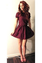 maroon Miu Miu dress - red glitter heels
