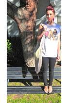 black skinny jeans H&M jeans - off white leather  fringe Jessica Simpson bag - n