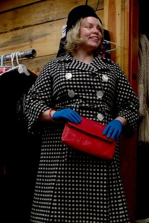 red thrifted purse - black thrifted vintage coat