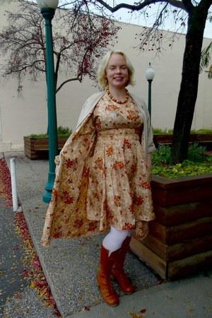 red laces vintage boots - patterned vintage dress - 1960ish vintage coat
