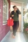 Coral-gino-ventori-shoes-dark-gray-trip-jeans-coral-bag-army-green-cotton-