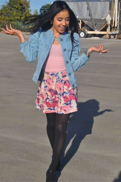 blue H&M jacket - pink American Apparel intimate - pink Forever 21 skirt