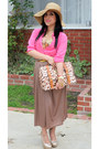 Camel-dulce-candy-skirt-gold-bakers-heels