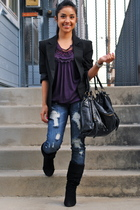 black Forever 21 blazer - black Forever 21 boots - purple Fashion Gal blouse