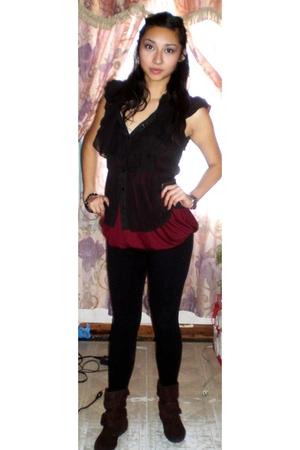 black miley cyrus max azaria blouse - red Soprano shirt - black TJMaxx leggings