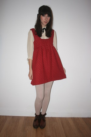 red Bought from a boutique in China dress - cream thrifted vintage blouse - ivor