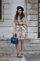 blue BLANCO purse - brown vintage shoes - nude Zara dress - beige H&M scarf