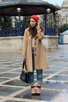 camel H&M coat - blue Levis jeans - black Zara purse - black Zara heels