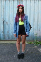 lime green Promod t-shirt - blue Zara jacket - black Zara shorts