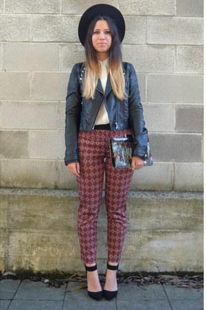 black H&M jacket - brick red Zara pants