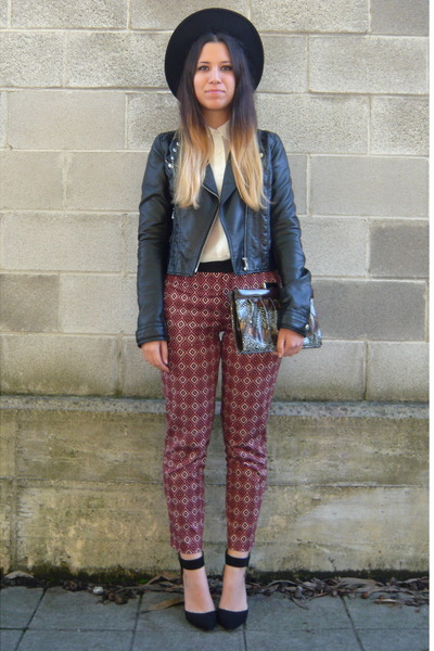 black H&M jacket - brick red Zara pants