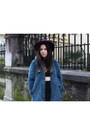 Teal-faux-fur-zara-coat-purple-h-ampm-hat-black-asos-skirt