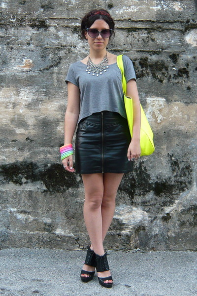 silver Zara necklace - yellow pull&bear bag - black H&M skirt