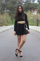 black Zara shoes - black Zara purse - black Zara skirt - black asos top