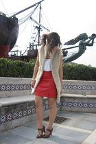 beige Zara vest - red vintage skirt - brown Tck shoes - white double agent t-shi