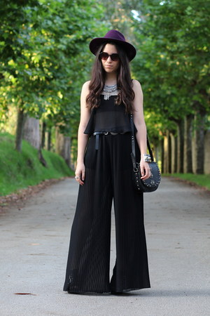 black Bershka top - purple H&M hat - black Zara pants