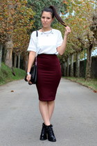 crimson pull&bear skirt - black Zara boots - black Zara purse