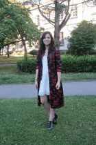 red Dame Rouge cardigan - white Zara dress - black hazel shoes