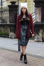 black Zara boots - maroon Stradivarius cardigan - blue Zara skirt