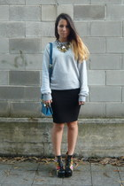 silver pull&bear jumper - black Bumper boots - blue BLANCO bag - black H&M skirt