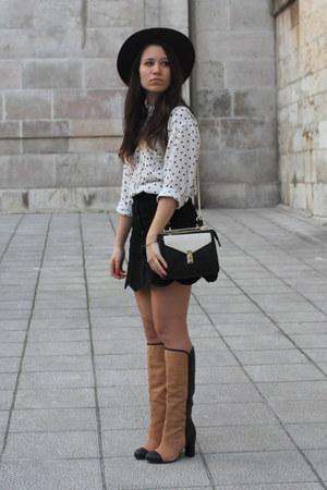 black Zara purse - brown Zara boots - purple H&M hat