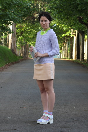 nude Zara skirt - light purple Mango socks - light purple Zara jumper