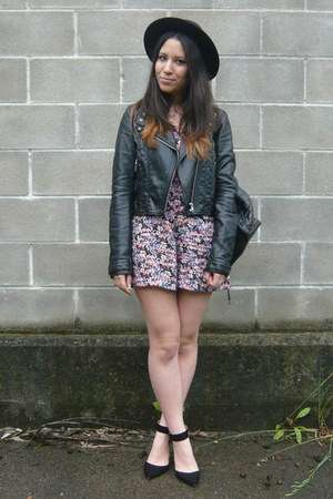 black H&M jacket - purple Primark bodysuit - black Zara heels