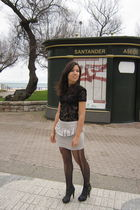black Mango t-shirt - silver BLANCO skirt - black BLANCO shoes