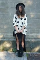 white Zara jumper - black asos skirt