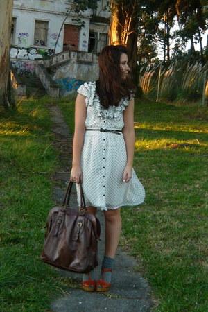 white H&M dress - dark brown BLANCO purse - charcoal gray Calcedonia socks - taw
