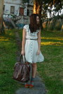 White-h-m-dress-dark-brown-blanco-purse-charcoal-gray-calcedonia-socks-taw