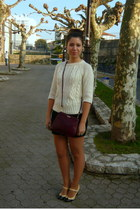 white Zara jumper - black H&M skirt - light yellow Gloria Ortiz shoes - crimson
