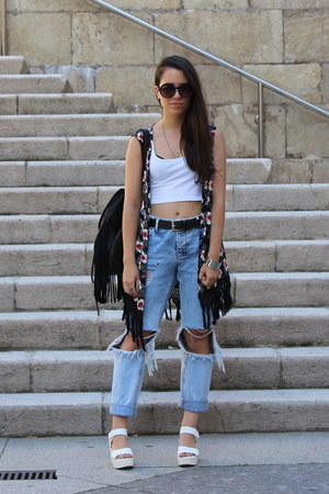 white Ebay shoes - blue pull&bear jeans - black Zara vest