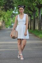 white Bershka shoes - white Bershka dress - light blue Zara jacket