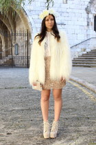 white Jeffrey Campbell boots - white faux fur Zara coat - white Zara shirt