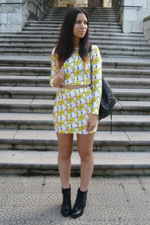 black Zara boots - yellow pikachu Romwecom suit