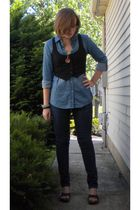 Walmart shirt - kohls jeans - caterpillar shoes - vintage necklace - vintage bra