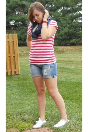 H&M t-shirt - H&M shorts - Target shoes - vintage scarf - silver vintage bracele