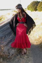 blue vintage scarf - red Bebe Maxi dress - brown Aldo shoes - black Vintage Sued