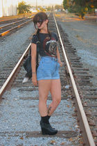 black obey shirt - blue vintage levi shorts - black Jeffrey Campbell shoes - bla